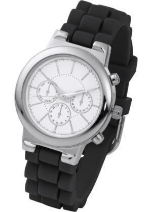 Часы на силиконовом браслете (черный/серебристый) bonprix. Цвет: черный/серебристый
