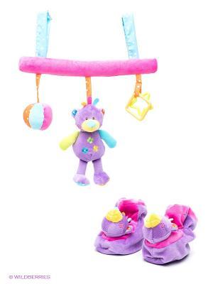Развивающая игрушка-подвеска Мишка Amico. Цвет: розовый, фиолетовый, голубой, салатовый