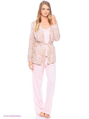 Комплект домашней одежды (халат, майка, брюки) HomeLike. Цвет: бежевый, розовый