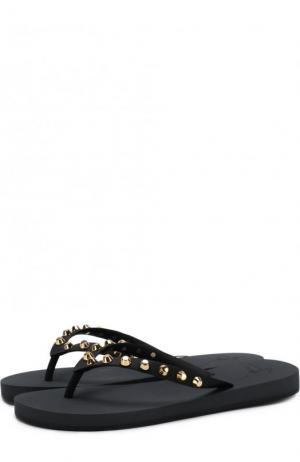 Резиновые шлепанцы с заклепками Giuseppe Zanotti Design. Цвет: черный
