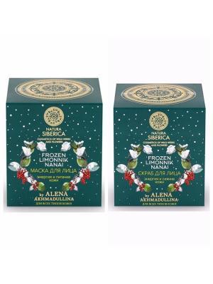 Набор Алёна Ахмадулина Маска для лица + Скраб Natura Siberica. Цвет: молочный, бледно-розовый