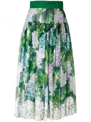 Плиссированная юбка с цветочным узором Dolce & Gabbana. Цвет: зелёный