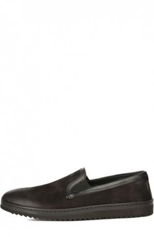 Слипоны из нубука с кожаной отделкой Dolce & Gabbana. Цвет: черный