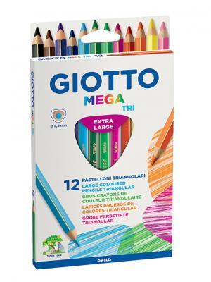 Giotto mega-tri 12 цв. цветные утолщенные карандаши, толщ. грифеля 5,5мм. FILA. Цвет: белый, синий, зеленый