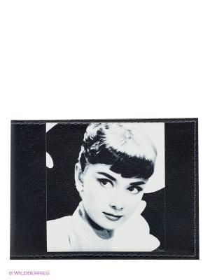 Обложка для студенческого Одри загадочная, на черном Арт. STUDAK30, шт Mitya Veselkov. Цвет: черный, белый