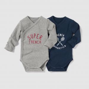 Комплект из 2 боди на возраст от 0 месяцев до 3 лет R mini. Цвет: серый меланж + темно-синий