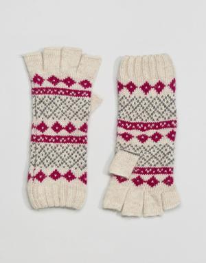 Alice Hannah Перчатки с наполовину открытыми пальцами и узором Фэйр-Айл Hanna. Цвет: мульти
