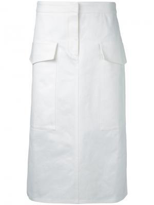 Юбка с накладными карманами Studio Nicholson. Цвет: белый