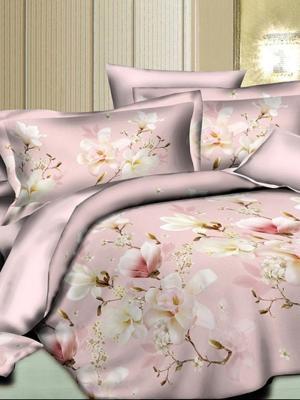 Комплект постельного белья, сатин, дуэт, пододеяльник на молнии, 4 наволочки Letto. Цвет: розовый, белый