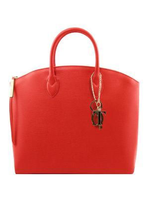Сумка-тоут из кожи Саффьяно большого размера Tuscany Leather. Цвет: красный