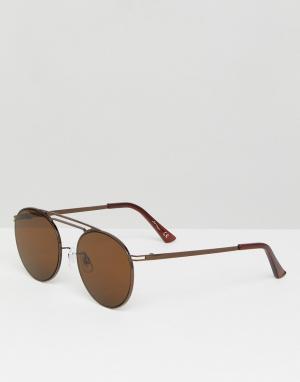 Jeepers Peepers Коричневые круглые солнцезащитные очки. Цвет: коричневый