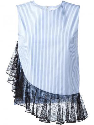 Блузка с кружевной оборкой J.W.Anderson. Цвет: синий