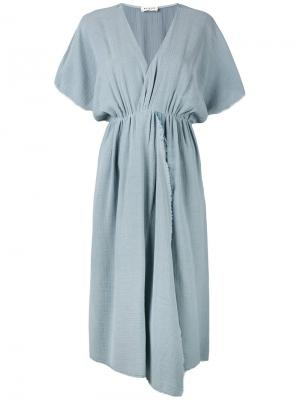 Асимметричное платье с бахромой Masscob. Цвет: синий