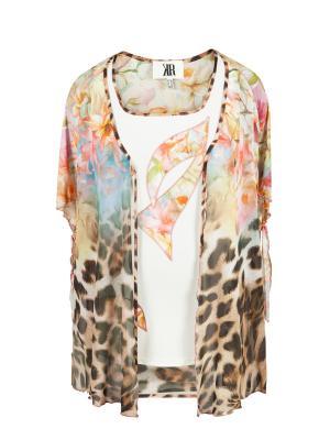 Блуза KR. Цвет: светло-коричневый, розовый, светло-желтый