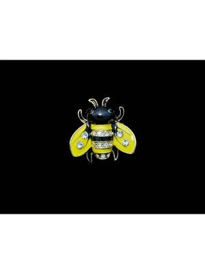 Брошь Miss Bijou. Цвет: желтый,черный,золотистый