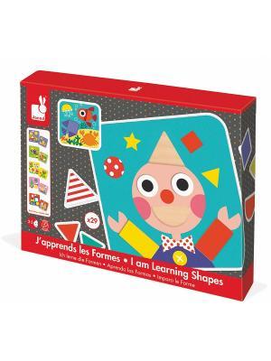 Сортер фигуры и цвета (6 двусторонних карточек 29 деревянных фигур) Janod. Цвет: красный, серый