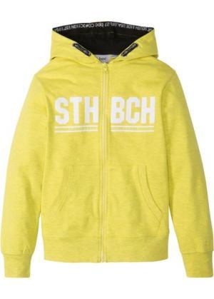 Куртка из трикотажа с капюшоном (желтый меланж) bonprix. Цвет: желтый меланж