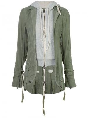 Куртка E-1 с капюшоном Greg Lauren. Цвет: зелёный