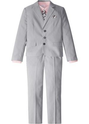 Костюм + рубашка галстук (4 изд.) (дымчато-серый/белый в полоску розовый) bonprix. Цвет: дымчато-серый/белый в полоску + розовый