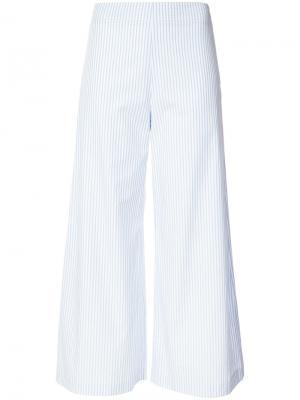 Укороченные брюки в полоску Adam Lippes. Цвет: синий