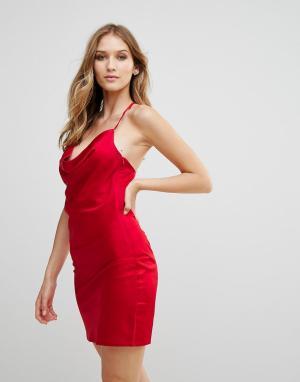 WYLDR Атласное платье-комбинация с драпировкой Supersticious Corvette. Цвет: красный