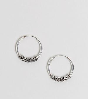 Kingsley Ryan Серебряные серьги-кольца 14 MM с отделкой. Цвет: серебряный