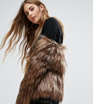 Unreal Fur Джинсовая куртка без воротника Dream - Коричневый 5631289