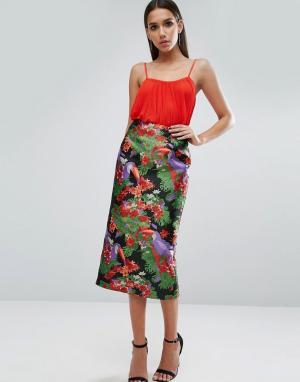 ASOS Жаккардовая юбка-карандаш с пеликанами. Цвет: мульти