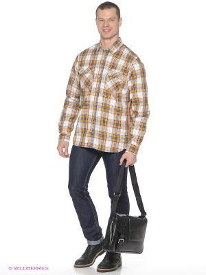 Рубашка SELA. Цвет: желтый, белый, синий