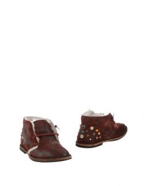 Полусапоги и высокие ботинки YAB. Цвет: красно-коричневый