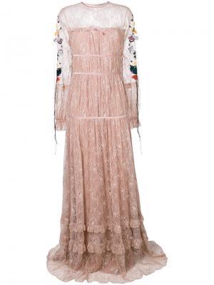 Платье с цветочной вышивкой Piccione.Piccione. Цвет: розовый и фиолетовый