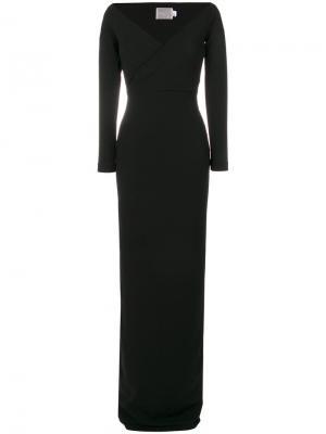 Платье с широким V-образным вырезом Victorie Solace. Цвет: чёрный