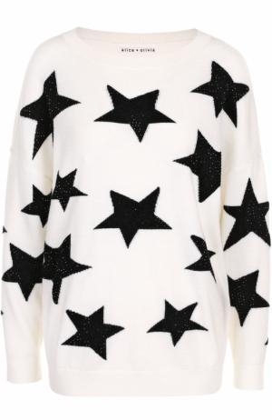 Шерстяной пуловер с круглым вырезом и принтом в виде звезд Alice + Olivia. Цвет: белый