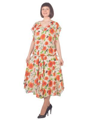 Блузка Томилочка Мода ТМ. Цвет: светло-зеленый, бежевый, оранжевый