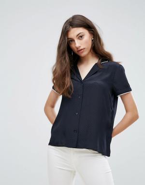 Pieces Рубашка с короткими рукавами Mallia. Цвет: черный