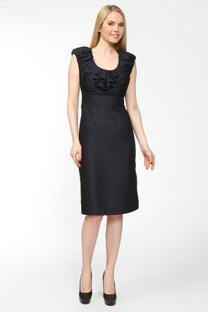Платье с воланами по горловине Arrangee. Цвет: темно-синий