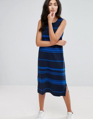 YMC Трикотажное цельнокройное платье в полоску. Цвет: темно-синий