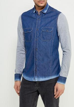 Рубашка джинсовая Young & Rich. Цвет: синий