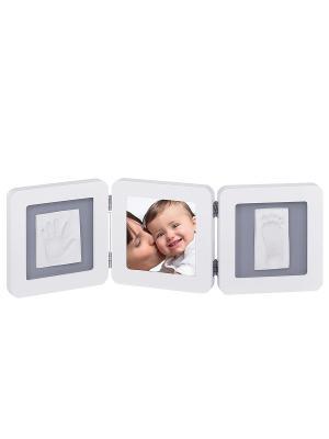 Рамочка тройная Baby Art. Цвет: серый, белый
