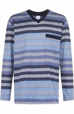 Хлопковая пижама с брюками Zimmerli. Цвет: голубой