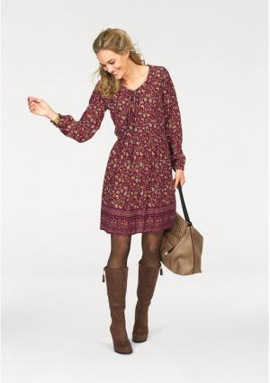 Платье CHEER. Цвет: бордовый/бежевый