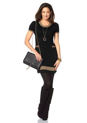 Платье-мини CHILLYTIME. Цвет: черный/светло-коричневый