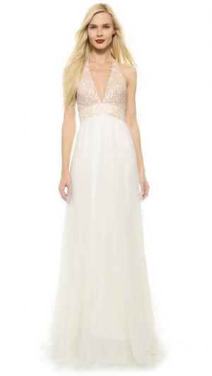 Вечернее платье с завязками уздечкой Edgy Girl Reem Acra. Цвет: белый