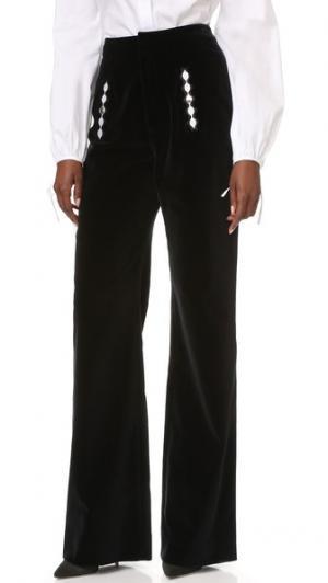 Бархатные брюки Holly Fulton. Цвет: черный/белый