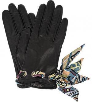 Кожаные перчатки с лентами ELEGANZZA. Цвет: черный