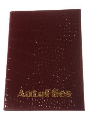 Обложка для автодокументов, бардовый крокодил Радужки. Цвет: бордовый