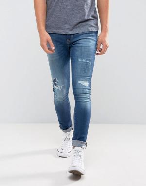 River Island Выбеленные джинсы скинни с потертой отделкой. Цвет: синий