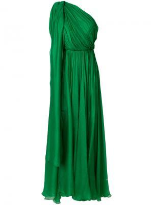Драпированное длинное платье на одно плечо Maria Lucia Hohan. Цвет: зелёный
