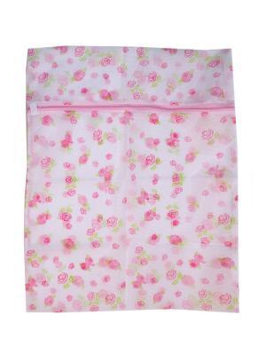 Мешок для стирки белья и носков на замке KONONO. Цвет: белый, розовый