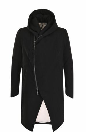 Пальто из смеси шерсти и льна на молнии с капюшоном Masnada. Цвет: черный